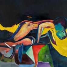 Ohne Titel (Sleeping 2), 2017, Öl und Lack auf Leinwand, 200 x 150 cm