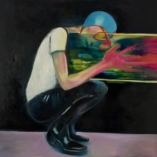 Ohne Titel, 2017, Öl und Lack auf Leinwand, 150 x 150 cm