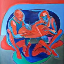 Ohne Titel (Zwei), 2018, Öl auf Leinwand, 200 x 185 cm