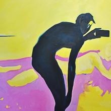 Ohne Titel (Voyeur 1), 2018, Öl auf Leinwand, 200 x 150 cm